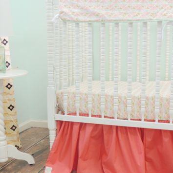 Aztec Baby Bedding | Coral, Peach Crib Bedding