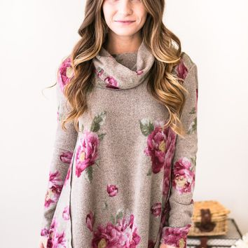 In the Loop Floral Cowl Neck Tunic