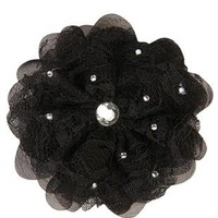 large material flower hair piece with stones - 1000044913 - debshops.com