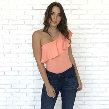 One Shoulder Peach Ruffle Bodysuit