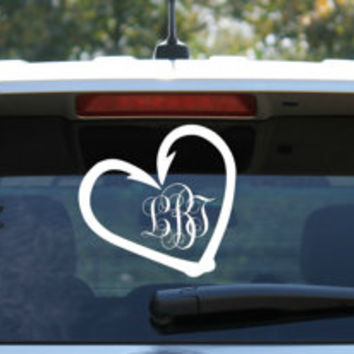 Fish Hook Heart Monogram