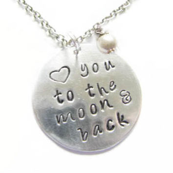 Love you to the moon and back Metal Hand Stamped pendant necklace Heart charm chain