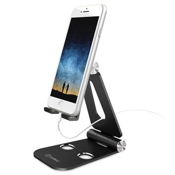 Quirkio - Cell Phone Stand, Dock Cradle, Holder, Foldable Multi-Angle Desktop Holder,For all Android Smartphone, iPhone 8/8 Plus/7/7 Plus iPhone X Galaxy Note 8, charging, Accessories Desk (Black)…