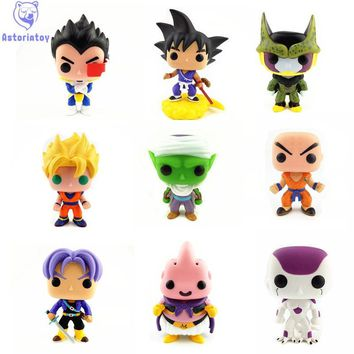 NEW 10cm Dragon Ball MAJIN BUU PICCOLO VEGETA TRUNKS PERFECT CELL action figure Bobble Head Q Edition no box for Car Decoration