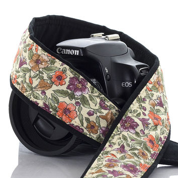 157 Camera Strap Earthy Floral