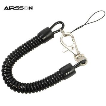 DCCK7N3 Tactical Retractable Plastic Spring Elastic Rope Security Gear Tool For Airsoft Outdoor Hiking Camping Anti-lost Phone Keychain