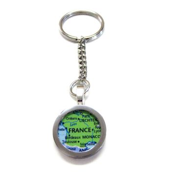 France Map Pendant Keychain