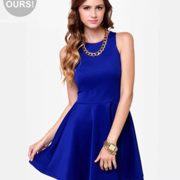 Cute Racer Back Dress - Royal Blue Dress - Skater Dress