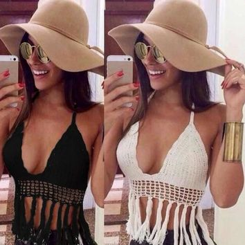 Womens Sexy Deep V-neck Crochet Knit Crop Top Halter Bra Bralette Summer Blouse = 1958020996