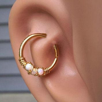 Three White Opals Gold Daith Hoop Ring Rook Hoop Cartilage Helix
