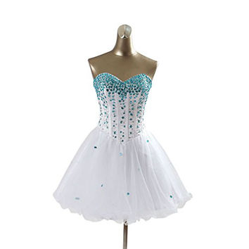 CEZOM White Short Prom Dresses with Blue Crystals
