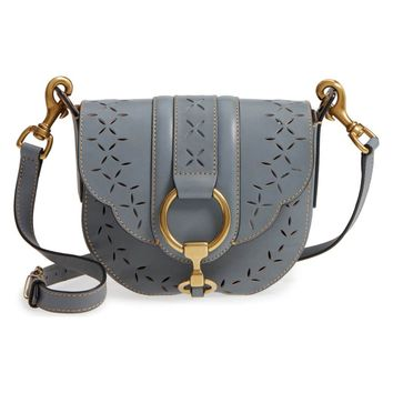 Frye Ilana Small Perforated Grey Leather Saddle Bag (Preloved)