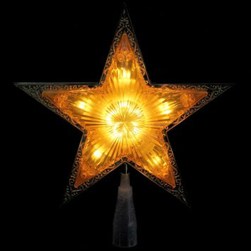 """9"""" Lighted Gold Edged Christmas Star Tree Topper - Clear Lights"""