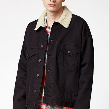 PacSun Oversized Denim Sherpa Trucker Jacket at PacSun.com