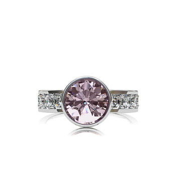 Light Pink tourmaline ring, White gold, white sapphire, Tourmaline engagement, Pink engagement, solitaire, custom, Sapphire, bezel
