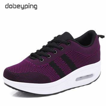 2018 New Spring Summer Casual Shoes Woman Breathable Mesh Women Loafers Platform Woman's Sneakers Lace-Up Ladies Flats Shoe