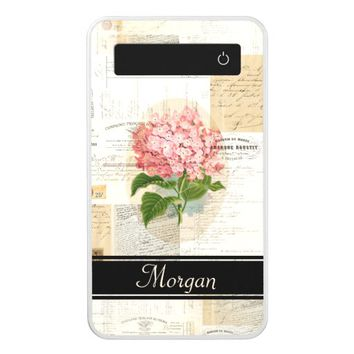 Vintage Pink Hydrangea French Personalized Battery Power Bank