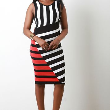 Striped Sweater Knit Bodycon Dress