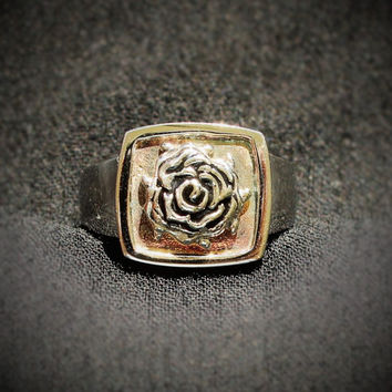 Vintage Stainless Steel Rose Ring With Gold Tone Accent