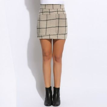 FANALA Sexy Women Skirt 2017 New High Waisted Plaid Pocket Wool Blend Pakage Hip Mini Skirt Spring Winter Skirts Plus Size