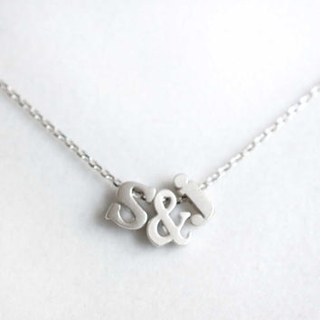 Tiny Lowercase Initial & Ampersand Necklace Love Personalized Tiny silver Lowercase Letter Necklace birthday gift