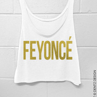 FEYONCE -  Crop Tank Top - White with Gold