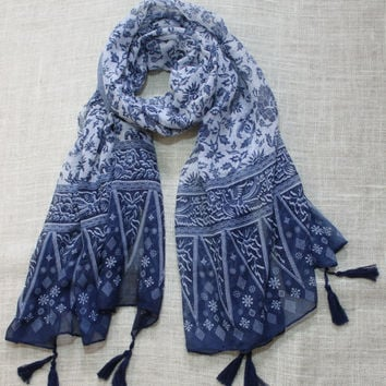 Blue White Gift Scarf, Wrap Shawl ,Winter Spring Summer Fall Winter, Woman Fashion Accessories, Gift For Her