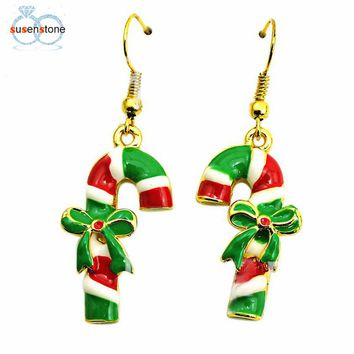 SUSENSTONE Fashion Christmas Crutches Earrings Adorn Article