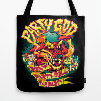 PARTY GOD (red) Tote Bag by BeastWreck