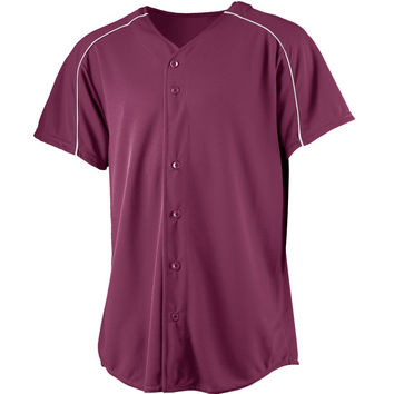 Augusta 583Wicking Button Front Baseball Jersey-Youth - Maroon White
