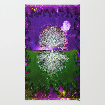 Moonlight Rainbow Tree of Life Area & Throw Rug by TreeofLifeShop | Society6