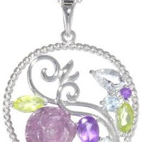 """Sterling Silver Multi-Gemstone Rose Twisted Round Pendant Necklace, 18"""" - save winkie Shop"""