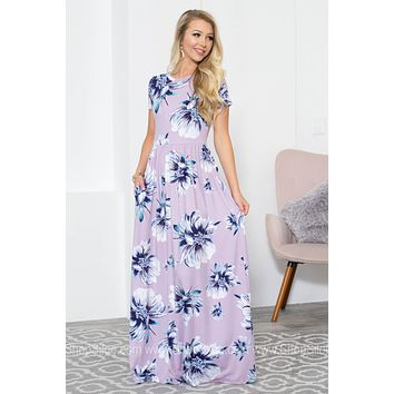 Lavender Hue Floral Maxi Pocket Dress
