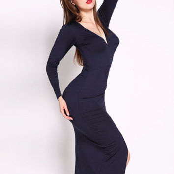 Black Long Sleeve V-Neck with Ruched and High Slit Dress