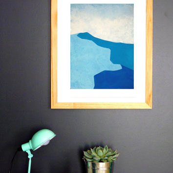 Dunes n.3 - Fine Art  Giclée Print - Blue Abstract Landscape Painting - Wall Art
