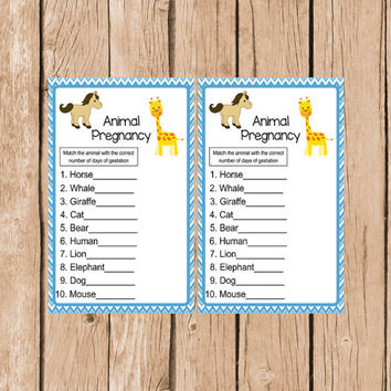 Boy Baby Shower Games Instant Download Animal Pregnancy Game Printable Baby Shower Game Animal Gestation Game Boy diy Shower Blue Chevron