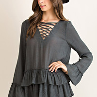 Lace Up Tiered Hem Top - Charcoal