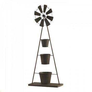 Iron Windmill Plant Stand