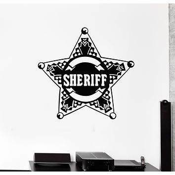 Vinyl Wall Decal Star Law Sheriff Badge Police Boys Room Stickers Mural (g230)