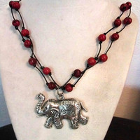 ON SALE Silver Elephant Necklace, Black and Red Double Strand Necklace, Organic Necklace, Elephant Jewelry, Eco-Friendly, Vegan Jewelry