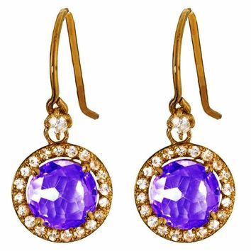 Suzanne Kalan The Pave 14k Gold 8mm Round Amethyst Drop Earring