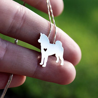 Akita necklace sterling silver, tiny silver hand cut dog pendant with heart,