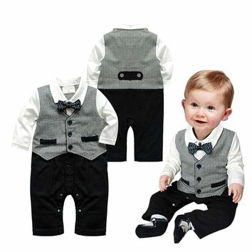 2017 Direct Selling Baby Rompers Newborn Prince Clothing Bow Tie Formal Gentleman Overalls Boys Brand Clothes Infant Jumpsuits