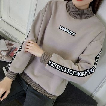 DCCKJ2X Loose and cashmere sweater female thickening