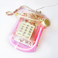CICENA Roxanne Neon Phone Pink Acrylic Lucite Telephone With ORIGINAL BOX Clear Transparent Pulse Tone Lamp Collectible 80s Vintage Retro
