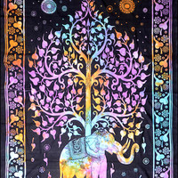 Elephant Tree - Tie-Dye - Tapestry