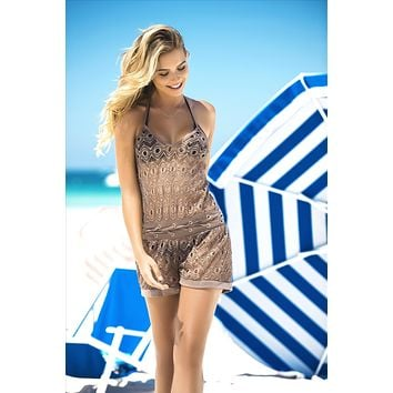 Nude Crochet Netting Romper Beach Cover Up Resorts Wear