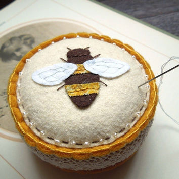 Golden Yellow Bee Embroidered Wool Felt Pincushion