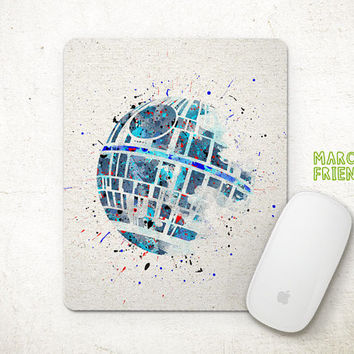 Star Wars Mouse Pad, Death Star Watercolor Art, Mousepad, Office Deco, Gifts Idea, Art Print, Desk Decor, Star Wars Accessories