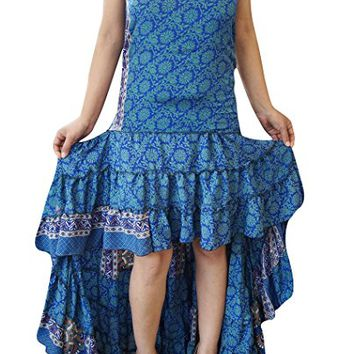 Mogul Interior Womens Hi Low Dress Recycled Silk Feminine Touch Ruffle Tiered Design Flowy Strapless Sundress